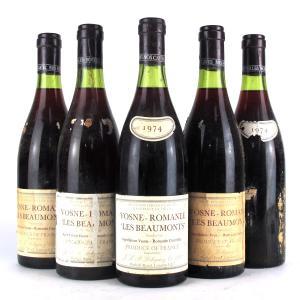 """Lebegue """"Les Beaumonts"""" 1974 Vosne-Romanee 1er-Cru 5x73cl"""