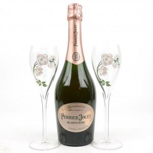 Perrier-Jouet Blason Rose Brut NV Champagne & 2 Branded Flutes