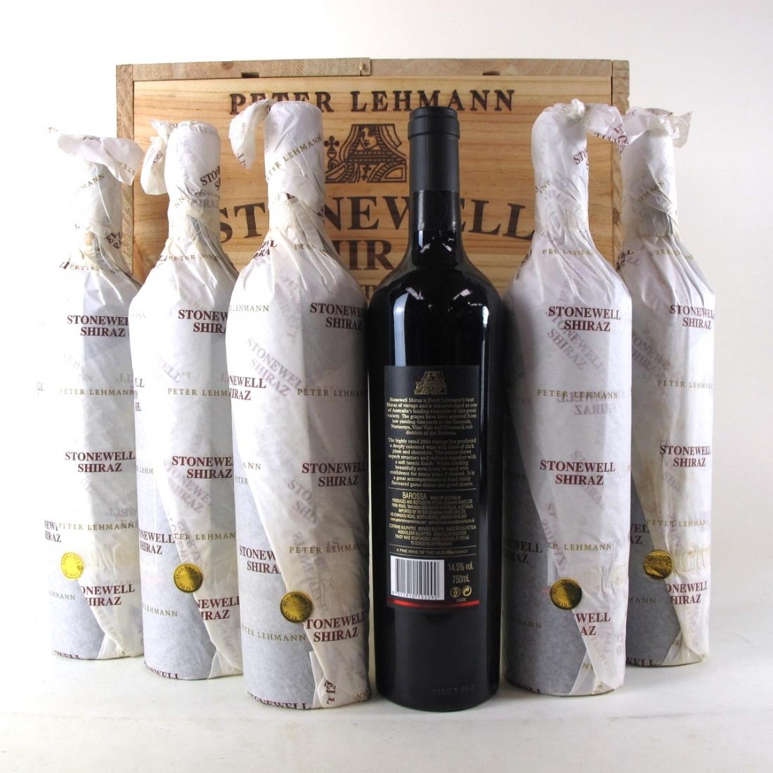 """Peter Lehmann """"Stonewell"""" Shiraz 2004 Barossa 6x75cl / Original Wooden Case"""