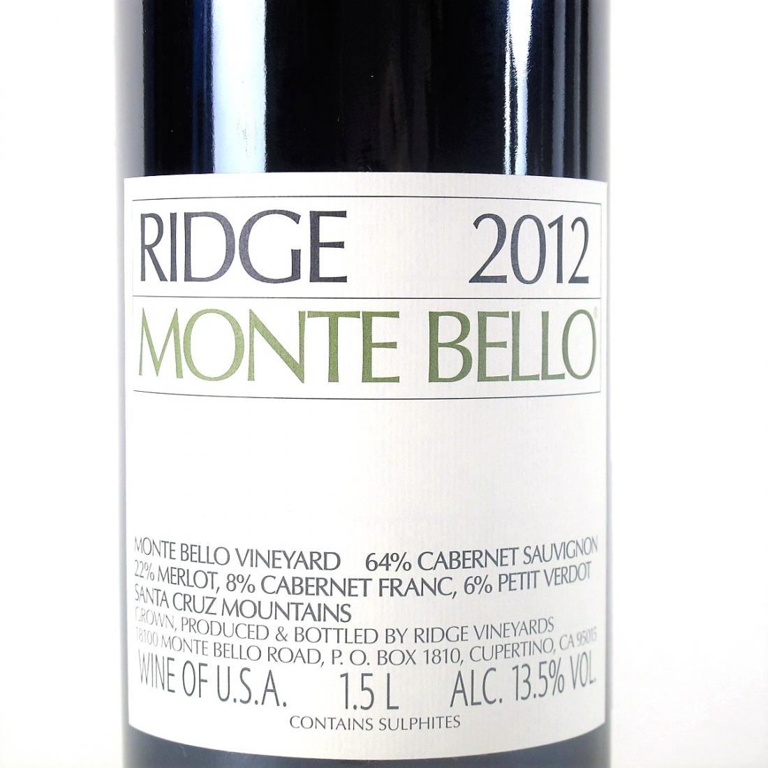 Ridge Monte Bello 2012 Santa Cruz Mountains 150cl