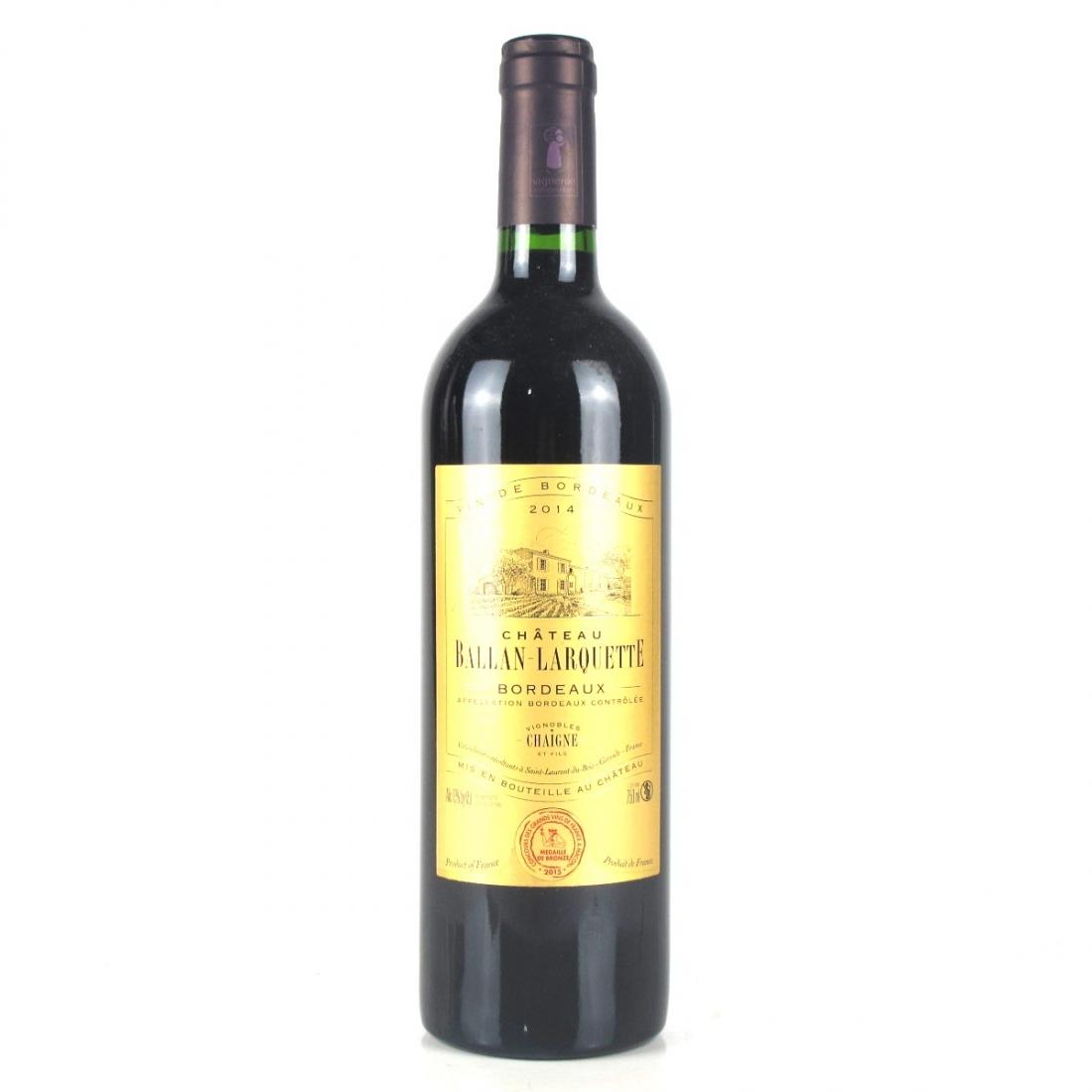 Ch. Ballan-Larquette 2014 Bordeaux