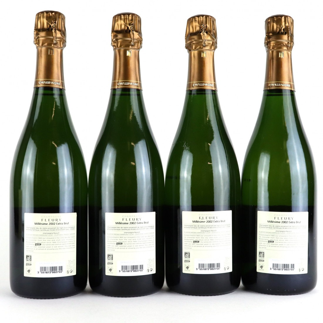 Fleury Extra Brut 2002 Vintage Champagne 4x75cl