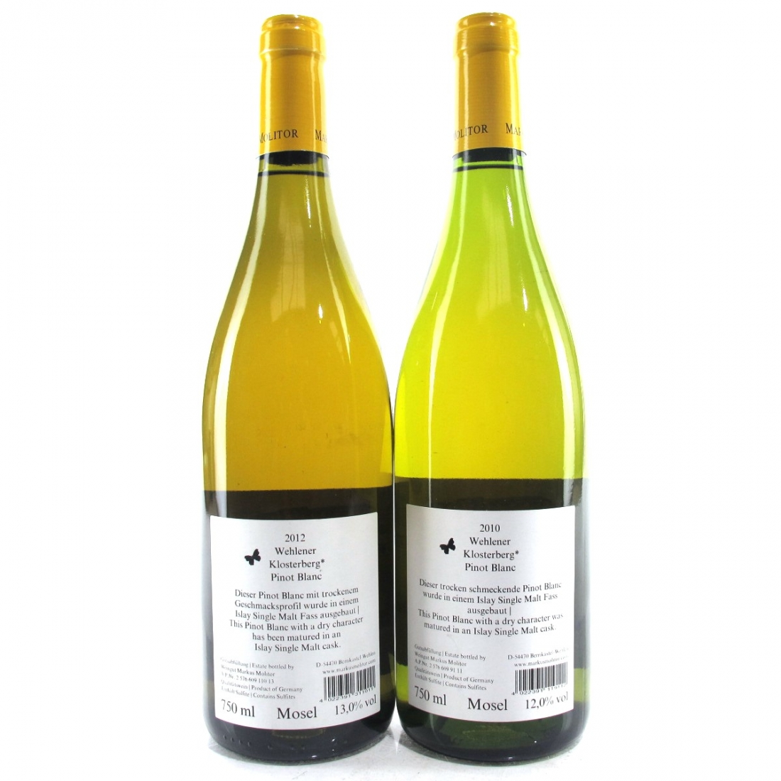 """M.Molitor """"Wehlener Klosterberg"""" Pinot Blanc 2010 & 2012 Mosel 2x75cl"""